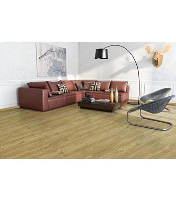Parquet flotante de la marca Barlinek de la serie pure line Roble coriander piccolo en un ambiente de habitación.
