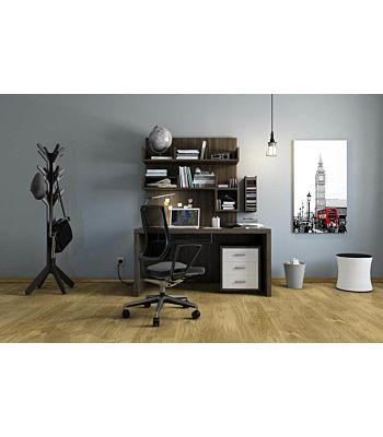 Parquet flotante de la marca Barlinek de la serie pure line Roble conchi en un ambiente de habitación.