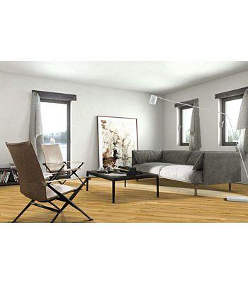 Parquet flotante de la marca Barlinek de la serie pure vintage Roble ivory en un ambiente de habitación.