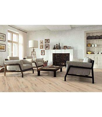 Parquet flotante de la marca Barlinek de la serie pure vintage Roble alabaster en un ambiente de habitación.
