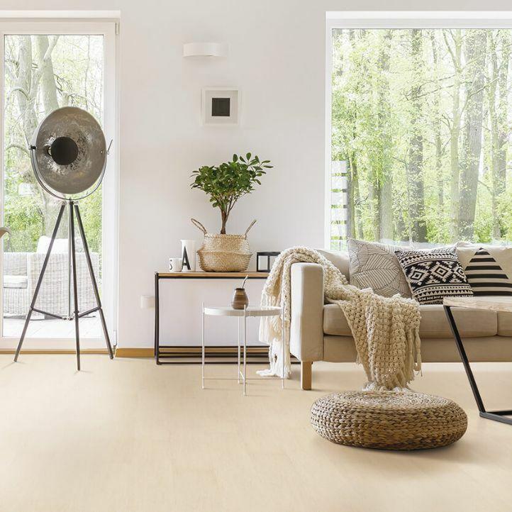 Suelo de corcho Wise Wood SRT contempo ivory EAUD001 en un ambiente de habitación.