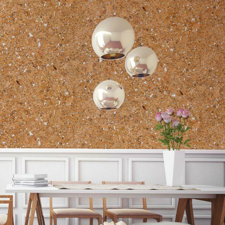 El revestimiento de pared Dekwall hawai white RY77002 acabado en cera en un ambiente de comedor.
