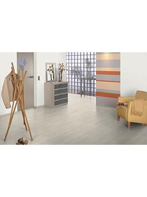 Parquet laminado roble Ampara Oscuro de Egger Home en un ambiente de habitación. Código EHL091.