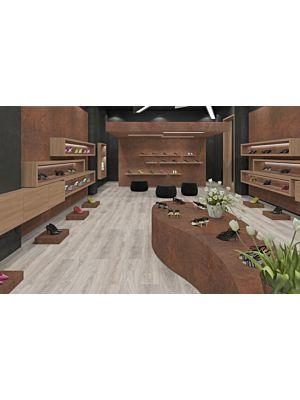 Parquet laminado de Roble Toscolano Claro MF4627 de Egger Megafloor de la serie M2 en un ambiente de habitación.