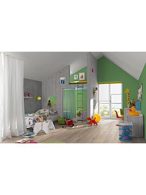 Parquet laminado Roble gris claro de Egger Home en un ambiente de habitación. Código EHL038.