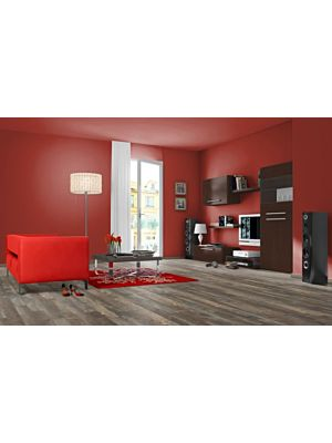 parquet laminado de robin wood light MF4617 de Egger Megafloor de la serie M2 medium en un hambiente de habitación iluminada y con una cama.