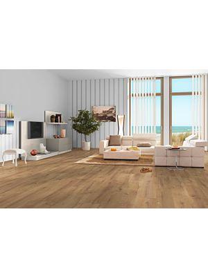 Parquet laminado de Century Wood cocktail MF4614 de Egger Megafloor de la serie M1 en un ambiente de habitación.