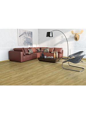 Parquet flotante de la marca Barlinek de la serie pure line Roble grand canion en un ambiente de habitación.