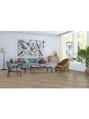 Parquet flotante de la marca Barlinek de la serie tastes of life Roble grissini en un ambiente de habitación.