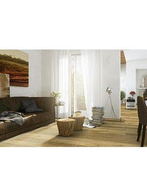 Parquet flotante de la marca Barlinek de la serie pure line Roble apricot sorbet piccolo en un ambiente de habitación.