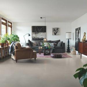Parquet vinílico de la marca Pergo cemento beige suave V2320-40144 de la serie premium en un ambiente de habitación.