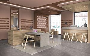 Parquet laminado HORMIGÓN CEFALU CLARO EHL004 4+1v de Egger Home de la serie Kingsize  en un ambiente de comedor.