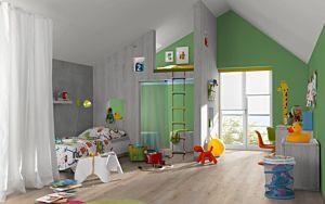 Parquet laminado Roble LAUSANNE claro de Egger Home en un ambiente de habitación. Código EHL085.