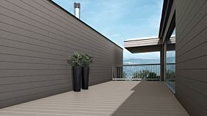 Exterior Cdeck de carbono-cork en lama alveolar chocolate en un ambiente de terraza exterior.