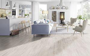 Parquet laminado de Castaño Girona Blanco MF4305 de Egger Megafloor de la serie M2 en un ambiente de habitación.