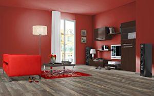 Parquet laminado 4v de robin wood light MF4616 de Egger Megafloor de la serie M2 medium en un ambiente sala de estar.