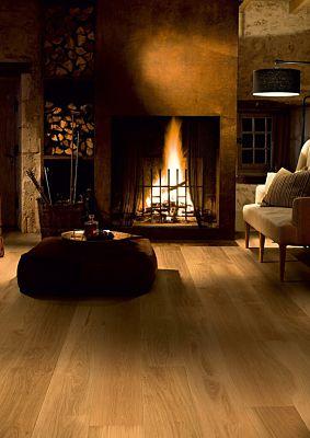 Parquet de madera natural de Quick-Step de la colección palazzo pal1340S Roble polar mate en un ambiente de habitación.