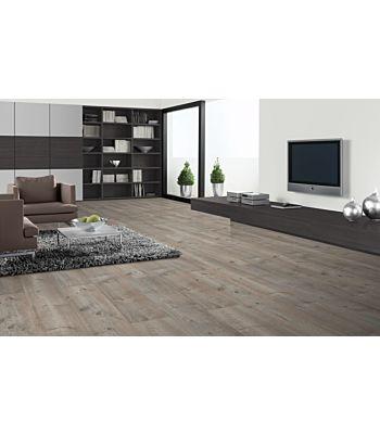 Parquet laminado roble Aurora Blanco de Egger Home en un ambiente de habitación. Código EHL109.