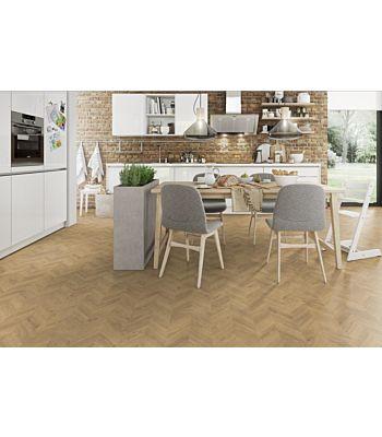 Parquet laminado de Roble Verdon Claro MF4581 de Egger Megafloor de la serie Kingsize M2 en un ambiente de habitación.