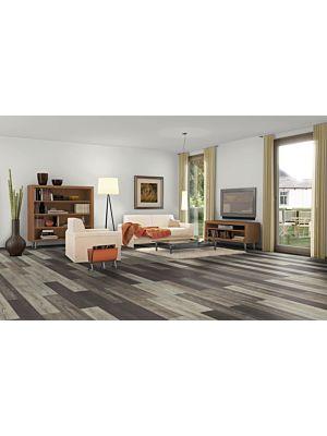 Parquet laminado de roble toscolano claro EHL015 de Egger Home en un ambiente de habitación.