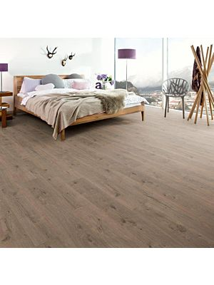 Suelo laminado de Egger Home, EHL051 Roble Livingston Light instalado en un  dormitorio.