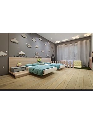 Suelo de madera parquet multicapa JAWOR PARKIET RETRO COLLECTION HANDMADE LINE FERTIG DESKA OLD MILL en un ambiente de habitación con un sofá blanco.