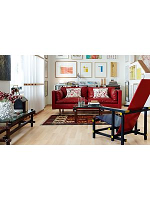 parquet laminado de la marca pergo de la serie original excellence fresno nórdico de 2 lamas L0201-01800 en un ambiente de habitación.