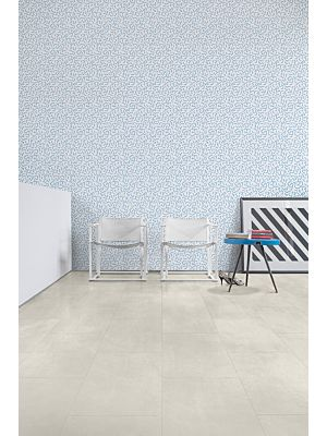 Parquet vinílico de la marca Quick-Step livyn Hormigón claro AMCL40049 de la serie Ambient Click en un ambiente de habitación.