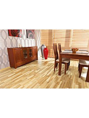 Parquet flotante de la marca Barlinek de la serie tastes of life fresno coffee de 3 lamas en un ambiente de habitación