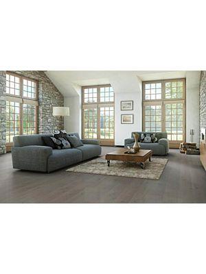 Parquet flotante de la marca Barlinek de la serie pure line Roble cream brulee en un ambiente de habitación.