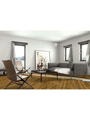 Parquet flotante de la marca Barlinek de la serie pure vintage Roble calvados en un ambiente de habitación.