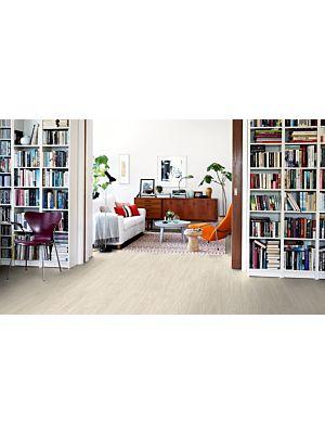Parquet vinílico de la marca Pergo Roble blanco nórdico V2107-40020 de la serie premium en un ambiente de habitación.