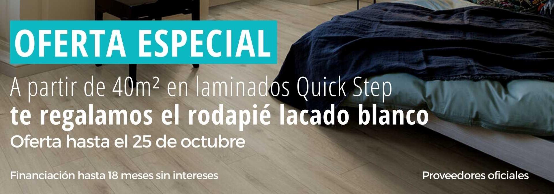 oferta quick-step laminados con rodapie lacado blanco