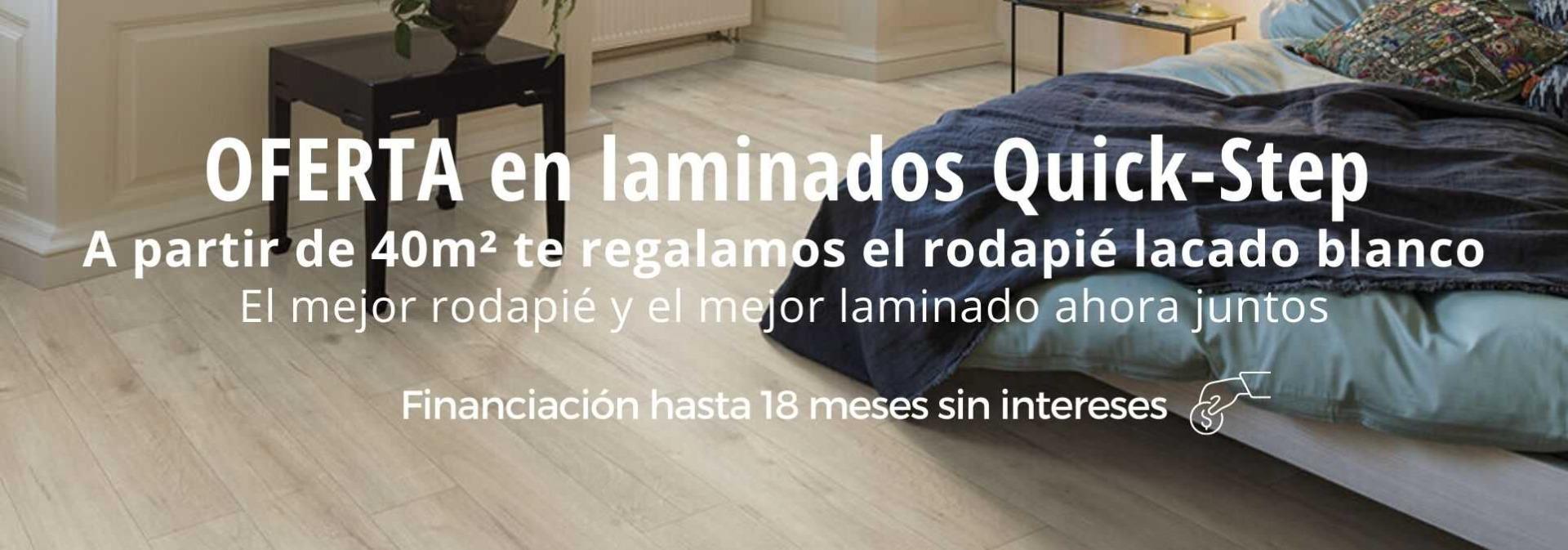oferta laminados quick-step con rodapié lacado blanco gratis