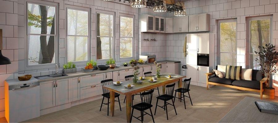 el suelo claro con una cocina blanca es una muy buena combinación